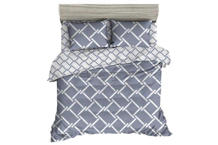 Giselle Bedding Quilt Cover Set Queen Bed Doona Duvet Reversible Sets Geometry Pattern