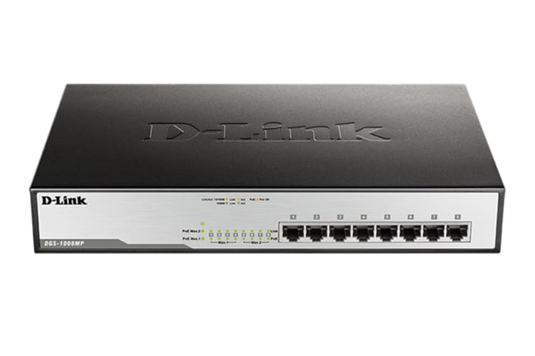 D-Link 8-Port Gigabit PoE Unmanaged Switch with 140W PoE Budget with Metal Housing (DGS-1008MP)