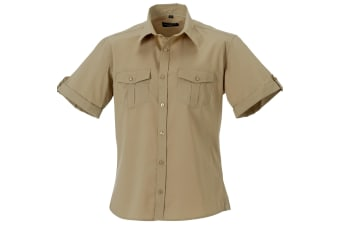 Russell Collection Mens Short / Roll-Sleeve Work Shirt (Khaki)