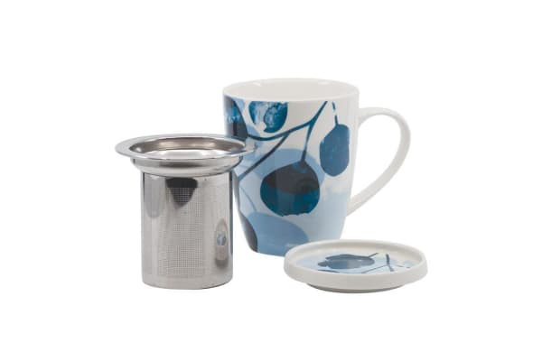 Salt & Pepper Lilia Mug Set 350ml With Tea Strainer & Lid Blue