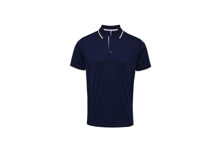 Premier Mens Contrast Coolchecker Polo Shirt (Navy/White) (XL)
