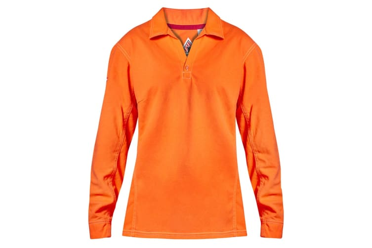 Hard Yakka Women's Bulwark iQ Flame Resistant Hi-Vis Long Sleeve Polo (Orange, Size 2XL)