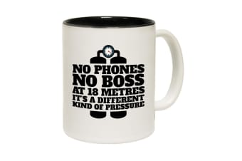 123T Funny Mugs - Openwater No Phones Boss At 18 Metres - Black Coffee Cup