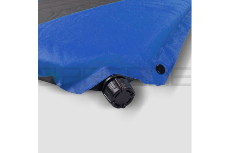 Double Self Inflating Mattress Sleeping Mat Air Bed Camping Hiking Joinable Blue