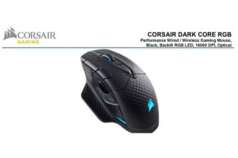 Corsair DARK CORE RGB Gaming Mouse - Black, Wired, Wireless,  Backlit RGB LED, 16000 DPI, Optical -