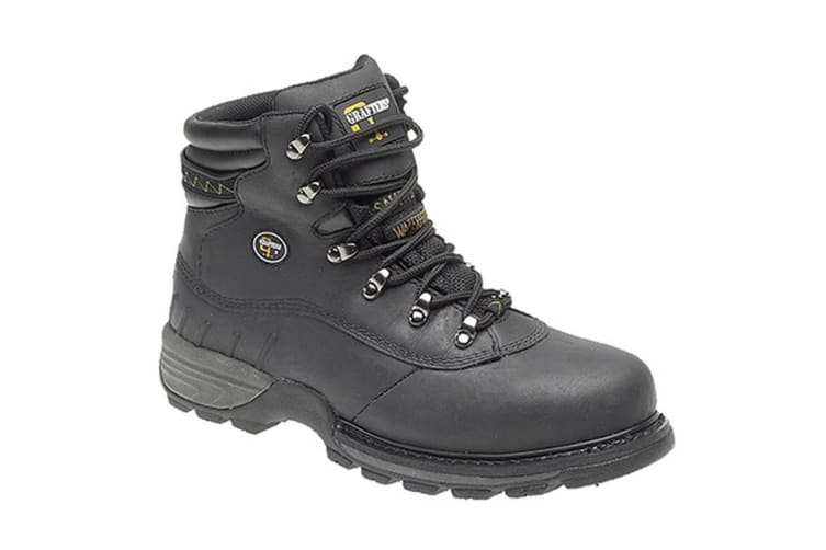 Grafters Mens Safety Hiker Type Toe Cap Waxy Leather Boots (Black) (11 UK)