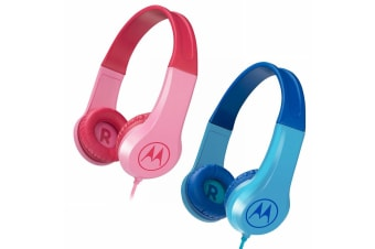 2PK Motorola Kids Safe Over-Ear Headphones Mic/3.5mm Audio Splitter Blue/Pink