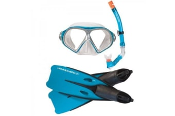 Hammerhead Reef Mask, Snorkel and Fin Set Blue Large