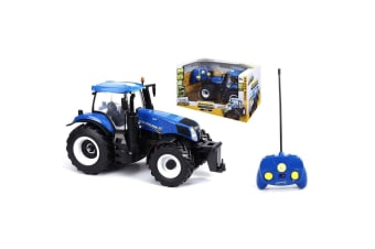 Maisto Tech 1:16 New Holland Tractor w/ RC/Lights Farm Series Toy f/ Kids 8y+
