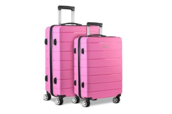 Wanderlite 2PC Luggage Suitcase Trolley Pink