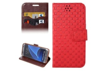 For Samsung Galaxy S7 EDGE Wallet Case  Grid Durable Shielding Cover Red