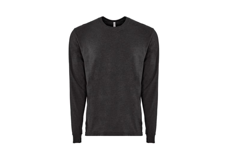 Next Level Adults Unisex Suede Feel Long Sleeve Crew T-Shirt (Heather Charcoal) (3XL)