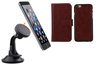 TODO Magnetic Quick Snap Car Suction Mount Leather Credit Card Case Iphone 6+ Plus - Brown