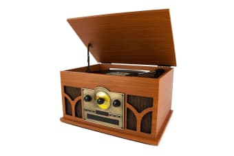 Turntable w/Bluetooth Speaker, AM/FM Radio and CD Player