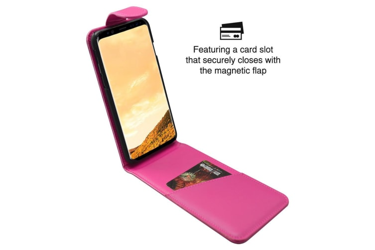 For Samsung Galaxy S8 Case iCL Vertical Flip Genuine Leather Cover Magenta
