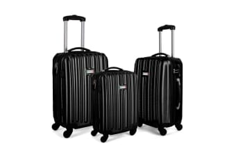 Milano ABS Luxury Shockproof Luggage 3 Piece Set (Black)