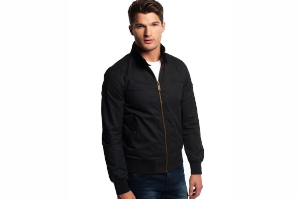 Superdry Men's Longhorn Harrington Jacket (Washed Black, Small)