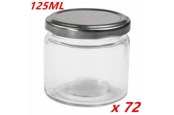 72 x Small Round Glass Jars 125ml Lid Lolly Honey Spice Canister Conserve Jar Bulk