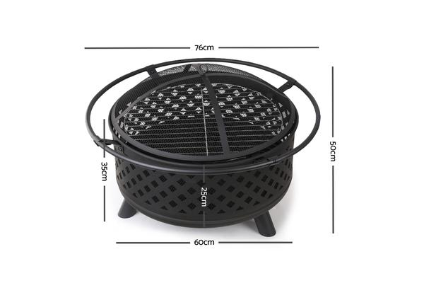 30 Inch Portable Outdoor Fire Pit and BBQ (Black)