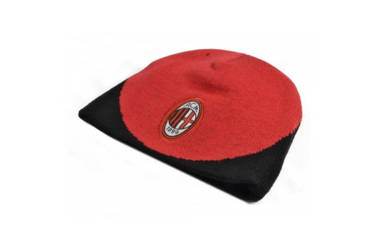 AC Milan Official Football Beanie Hat (Red/Black) (One Size)