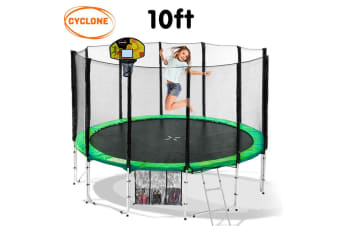 Cyclone 10ft Springless Trampoline with Basketball set - Green