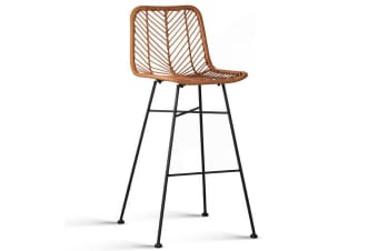 Set of 2 Patterned Rattan Bar Stools (Natural)