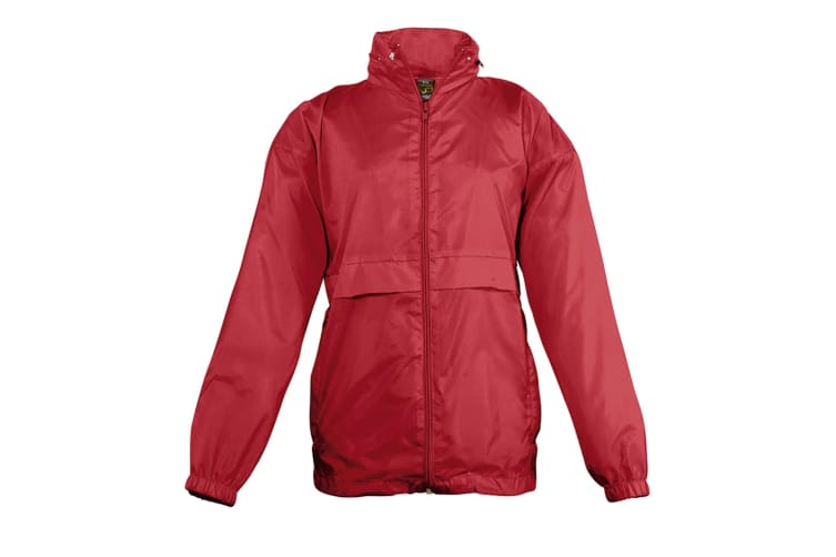 SOLS Kids Unisex Surf Windbreaker Jacket (Water Resistant And Windproof) (Red) (5-6)