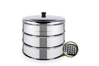 SOGA 3 Tier 28cm Stainless Steal Steamers With Lid Work inside of Basket Pot Steamers