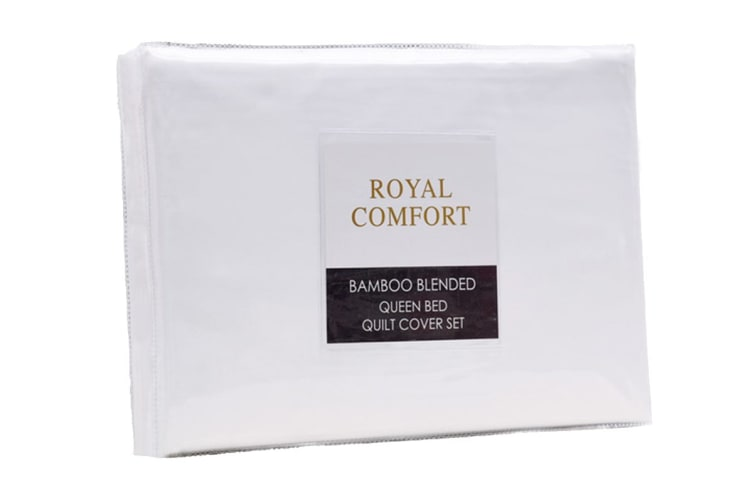 Royal Comfort Blended Bamboo Quilt Cover Set (Queen, White)
