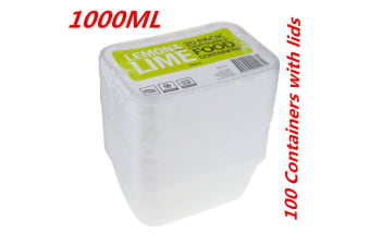 100 x 1000ML RECTANGLE TAKEAWAY CONTAINERS w LIDS DISPOSABLE PLASTIC FOOD CONTAINER 1L
