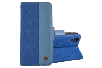 For iPhone XS Max Case Denim Genuine Leather Wallet Card Slot Cover Baby Blue