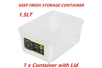 1 x 1.5L Rectangle Stack-able Plastic Food Storage Container Box Lid BPA Free Bulk