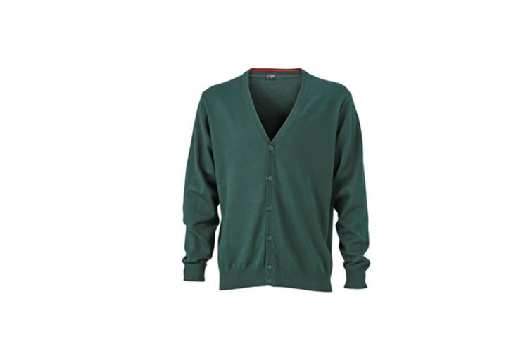 James and Nicholson Mens V-Neck Cardigan (Forest Green) (L)