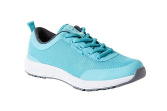 King Gee Women's Superlite Mesh Lace Shoe (Teal, Size 6)