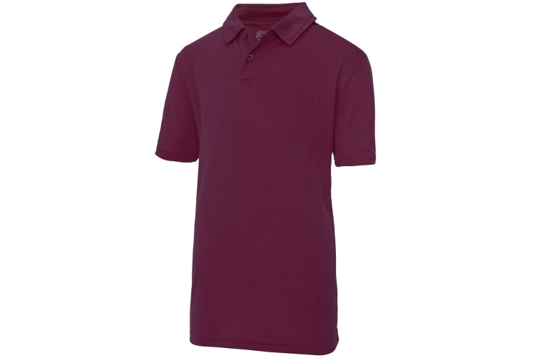 Just Cool Kids Unisex Sports Polo Plain Shirt (Pack of 2) (Burgundy) (9-11 Years)