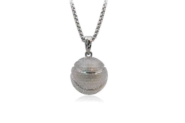 Basketball Pendant Hip Hop Sports Necklace Stainless Steel Chain  Silver