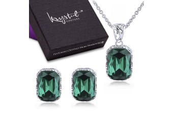 Majestic Emerald Green Necklace & Earrings Boxed Set