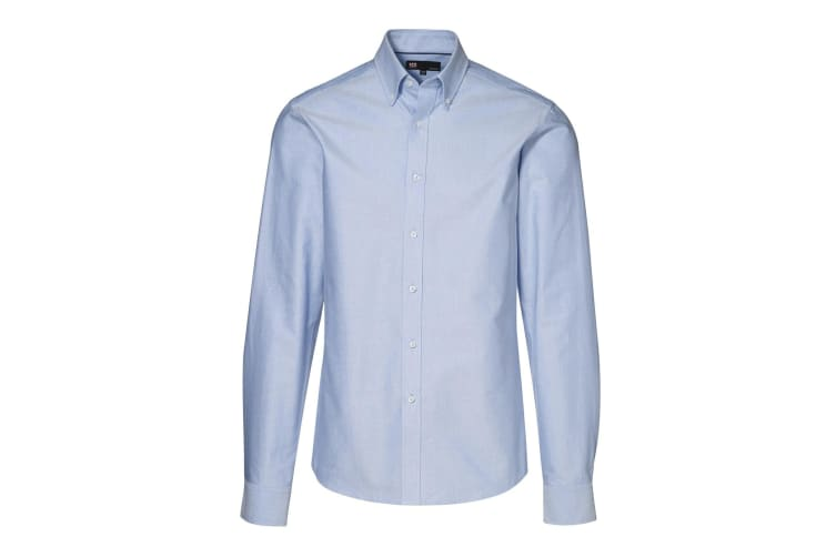 ID Mens Fitted Long Sleeve Button Up Oxford Shirt (Light Blue) (39/40)