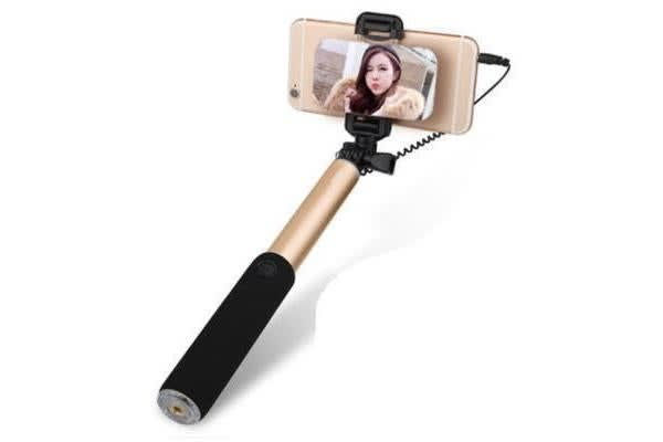 Rock Selfie Stick with Wire control & Mirror (Gold)