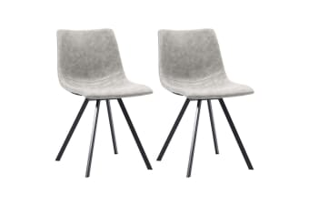 vidaXL Dining Chairs 2 pcs Light Grey Faux Leather