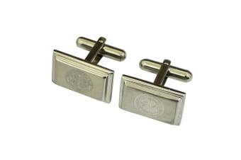 Celtic FC Official Mens Stainless Steel Football Crest Cufflinks (Silver)