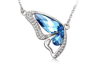 Orabella Butterfly Sapphire Necklace Embellished with Swarovski crystals