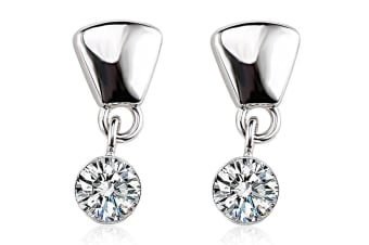 Chic Round Drop Earrings w/Swarovski Crystals-White Gold/Clear