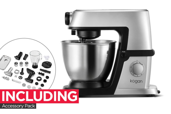 Kogan 1200W Deluxe Stand Mixer with Accessory Pack (Silver)