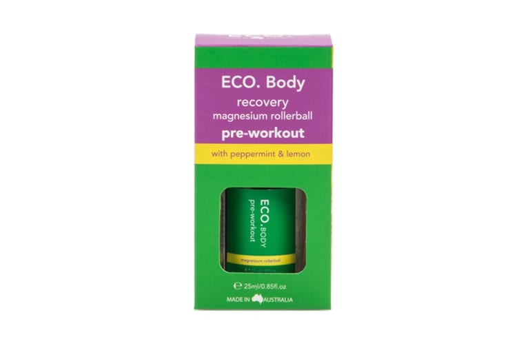 ECO. Pre Workout Magnesium Roller Ball with Peppermint & Lemon Essential Oil (25ml)