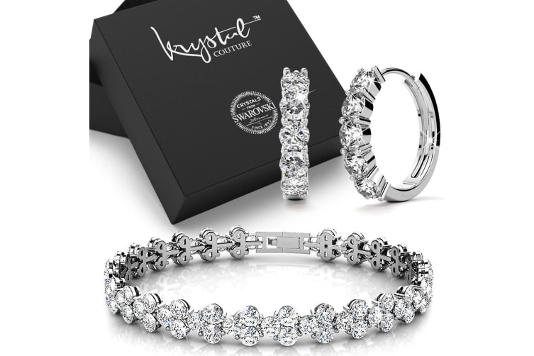 Boxed 18K White Gold Bracelet and Earrings Set Embellished with Swarovski crystals