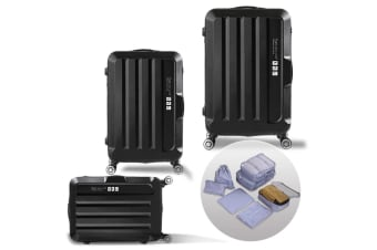 3 Pcs Luggage Set Travel Hard Case Lightweight Suitcase TSA lock Black  -  BlackBlack