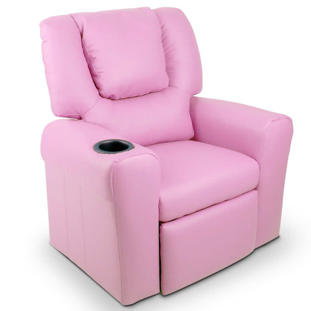 Kids Padded PU Leather Recliner Chair (Pink)