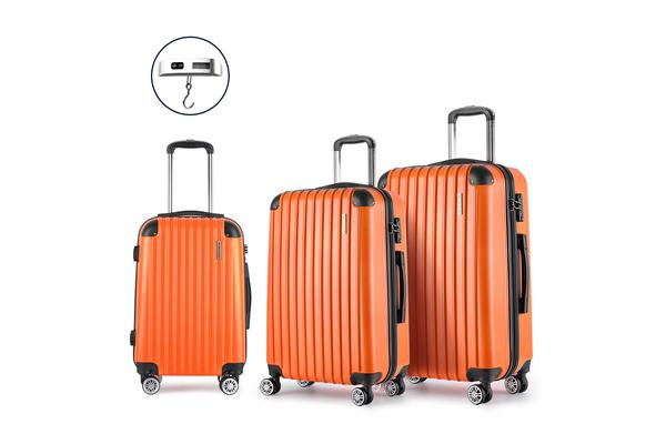 3 Piece Lightweight Hard Suit Case (Orange)