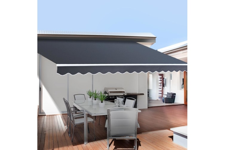 Instahut 4.5X3M Motorised Folding Arm Awning Retractable Outdoor Sunshade Canopy Grey Remote Control